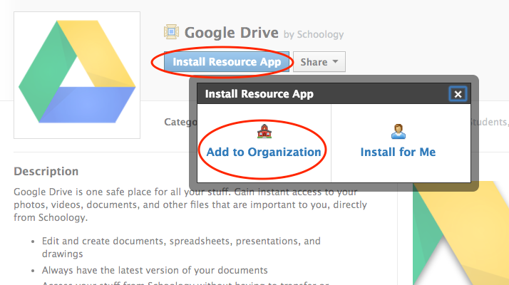 How do I use the Google Drive Resource App? – Schoology Support