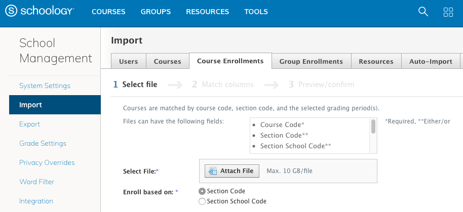 Import Course Enrollments with a CSV/XLS File (Enterprise