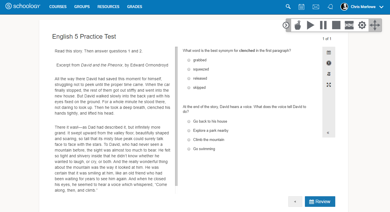 Text to Speech and Line Reader (AMP only) – Schoology Support