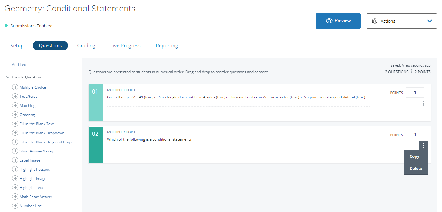 Guide to Schoology Assessments (Enterprise only) – Schoology