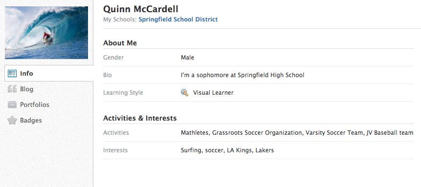 profile students schoology support